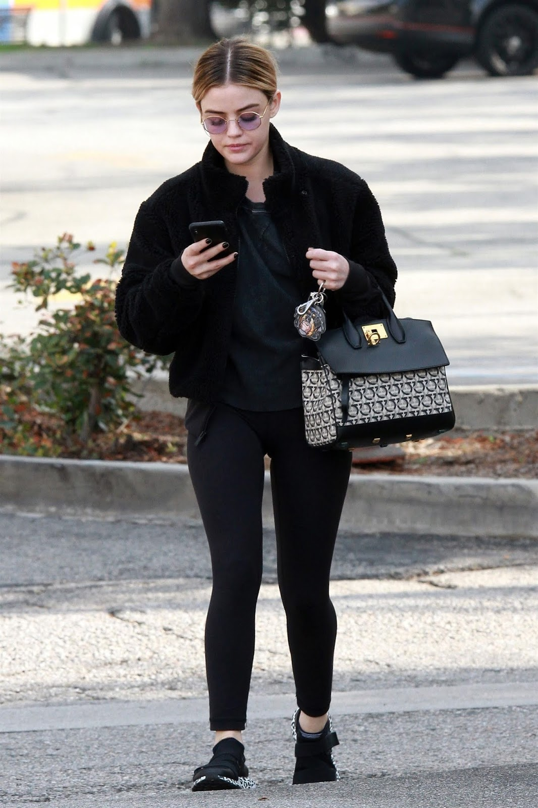 Lucy Hale bundled up in an all black outfit while out running errands in Studio City, CA - 11/01/2019