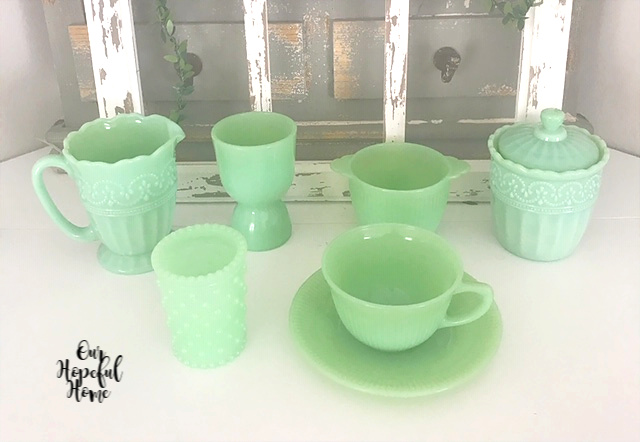 Anchor Hocking Jane Ray Fire-King Jade Ite tea cup sauer hobnail votive holder egg cup sugar bowl Pioneer Woman faux jadeite