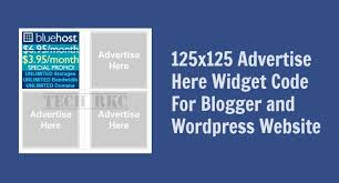 125x125 Advertise Here Widget HTML Code for Blogger and Wordpress
