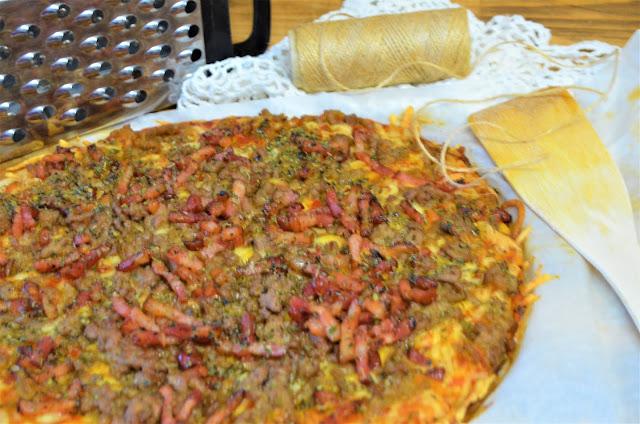 pizza de carne, pizza de carne facil y rapida, pizza facil y rapida, pizzas recetas, recetas de pizzas, recetas de pizzas faciles, recetas de pizzas rapidas, recetas de pizzas faciles y rapidas, las delicias de Mayte,