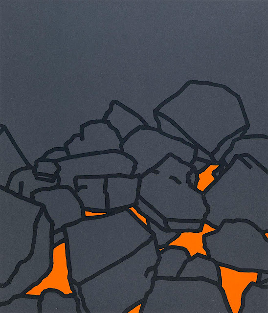 Patrick Caulfield art 1969, hot glowing fire coals in orange and grey