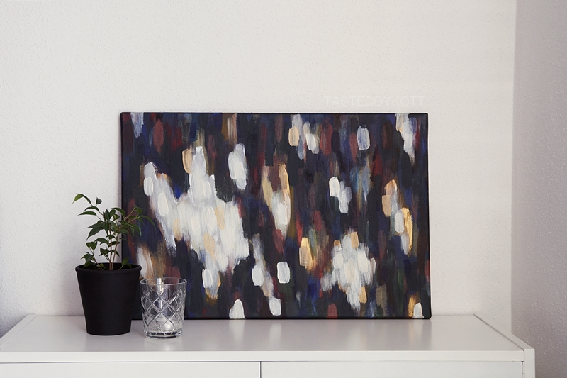 Decoration with abstract high contrast colorful painting by me