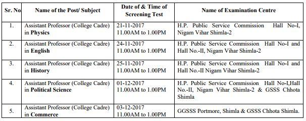 image : HPPSC Assistant Professor Exam Schedule 2017 @ JobMatters.in