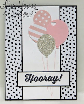 Stampin' Up! Perfect Pairings stamp set. Punched balloons with Hooray sentiment. Congratulations card. Birthday Card. Handmade card by Lisa Young, Add Ink and Stamp
