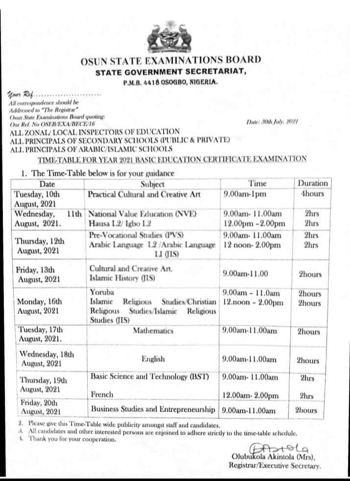 2021 Osun State BECE Timetable [10th  - 20th August] | JUNIOR WAEC