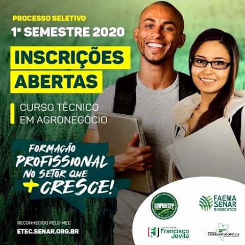 SINPROESPP abre inscrições para cursos técnicos em Agronegócio em Esperantinópolis