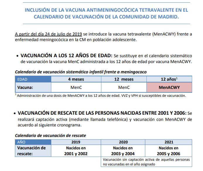 Calendario De Vacunacion 2020.Pediatras Del C S Rosa Luxemburgo Vacunacion Frente A Meningococo