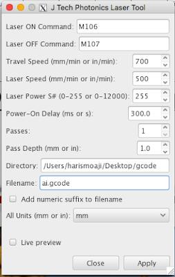 Sesuaikan konfigurasi GCode Generator