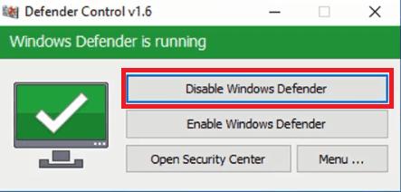 تعطيل windows defender
