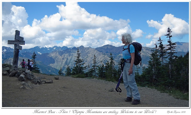 Marmot Pass: There! Olympic Mountains are smiling. Welcome to our World!