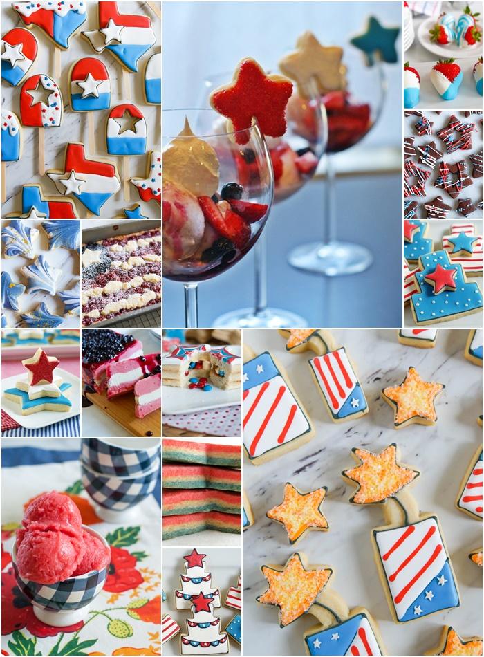 Thirteen 4th of July Desserts: cookies, ice cream, cookie cakes, etc.