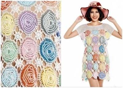 Vestido círculos de flores garabatos a crochet