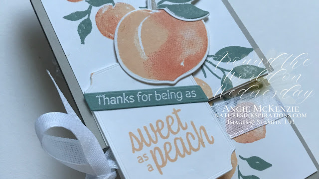 By Angie McKenzie for Around the World on Wednesday Blog Hop; Click READ or VISIT to go to my blog for details! Featuring the Sweet as a Peach Bundle and Tasteful Labels Dies in the 2021-2022 Annual Catalog along with the Sweet Ice Cream Stamp Set which is part of the Sweet Ice Corner Bundle in the January-June 2021 Mini Catalog by Stampin' Up!®; #fancyfoldcards #stamping #aroundtheworldonwednesdaybloghop #awowbloghop #sweetasapeachbundle #sweetasapeachstampset #peachdies #tastefullabelsdies #20212022annualcatalog #naturesinkspirations #diystationery #diycrafts  #makingotherssmileonecreationatatime #diecutting #minislimfunfold #teabaggiftholder #cardtechniques #stampinup #handmadecards #stampincutandembossmachine #stampinupcolorcoordination #papercrafts