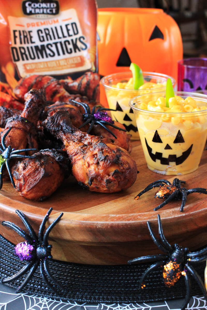 "Wildflower Honey BBQ Drumsticks with Jack-O-Lantern Macaroni and Cheese is the perfect quick and easy ""dark-side"" dinner to serve to your family on Halloween! #sponsored"