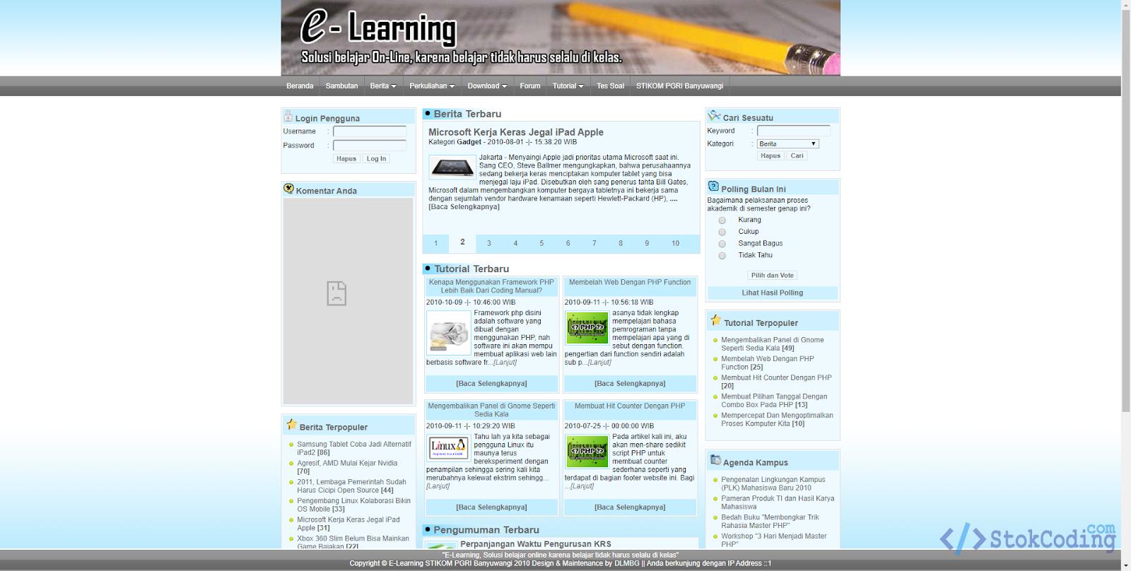 Sistem Aplikasi E-Learning Berbasis Web (Codeigniter)