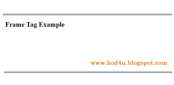 HTML Frameset Tag Example