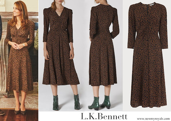 Kate Middleton wore L.K. Bennett Gabrielle Coral Print Midi Dress