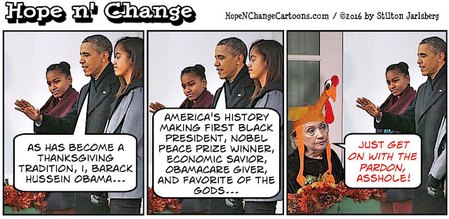 obama, obama jokes, political, humor, cartoon, conservative, hope n' change, hope and change, stilton jarlsberg, thanksgiving, turkey, pardon, hillary, 2016