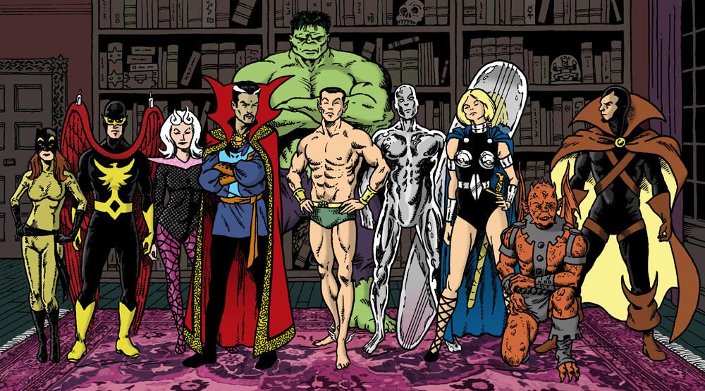 Hellcat, Nighthawk, Clea, Doctor Strange, Hulk, Sub-Mariner, Silver Surfer, Valkyrie, Gargoyle, and Devil-Slayer standing in the Sanctum Sanctorum's library at night.