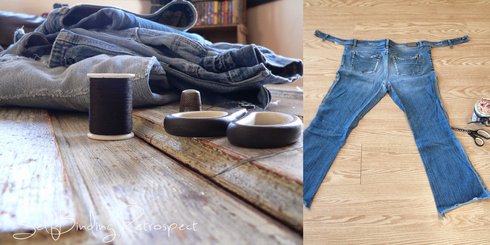 Make a backseat organizer out of old jeans