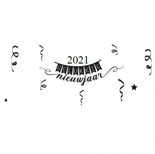 2021 Gelukkig nieuwjaar zwart wit