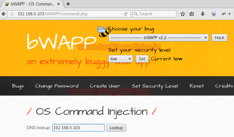bWAPP Command Injection Exploitation using Commix (Bypass