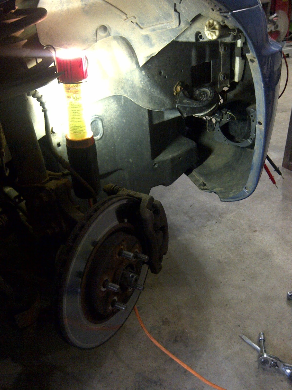 Another Day Project Fixing The Car Horn For Our Pt Cruiser 2003 Wiring Harness Problems Front Right Wheel Well With