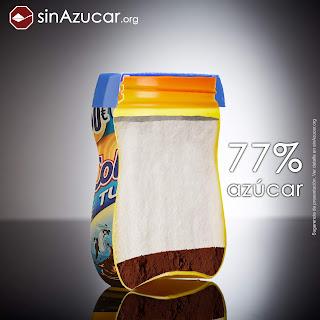 Un bote de ColaCao Turbo, contiene el 77% de azúcar. sinazucar.org alimentación bebés blog mimuselina