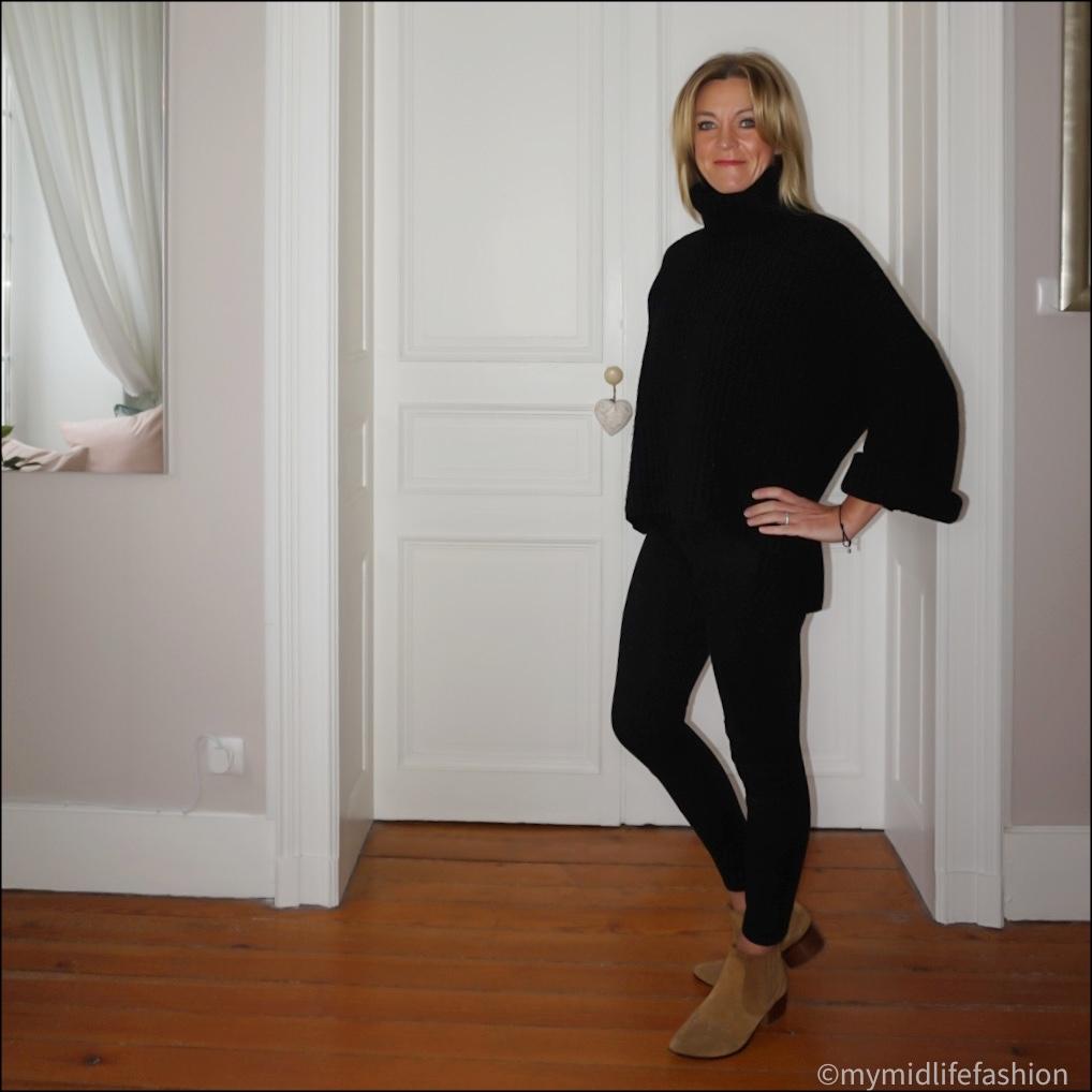 my midlife fashion, Joseph oversized roll neck jumper, j crew 8 inch toothpick skinny jeans, zara western heel ankle boots