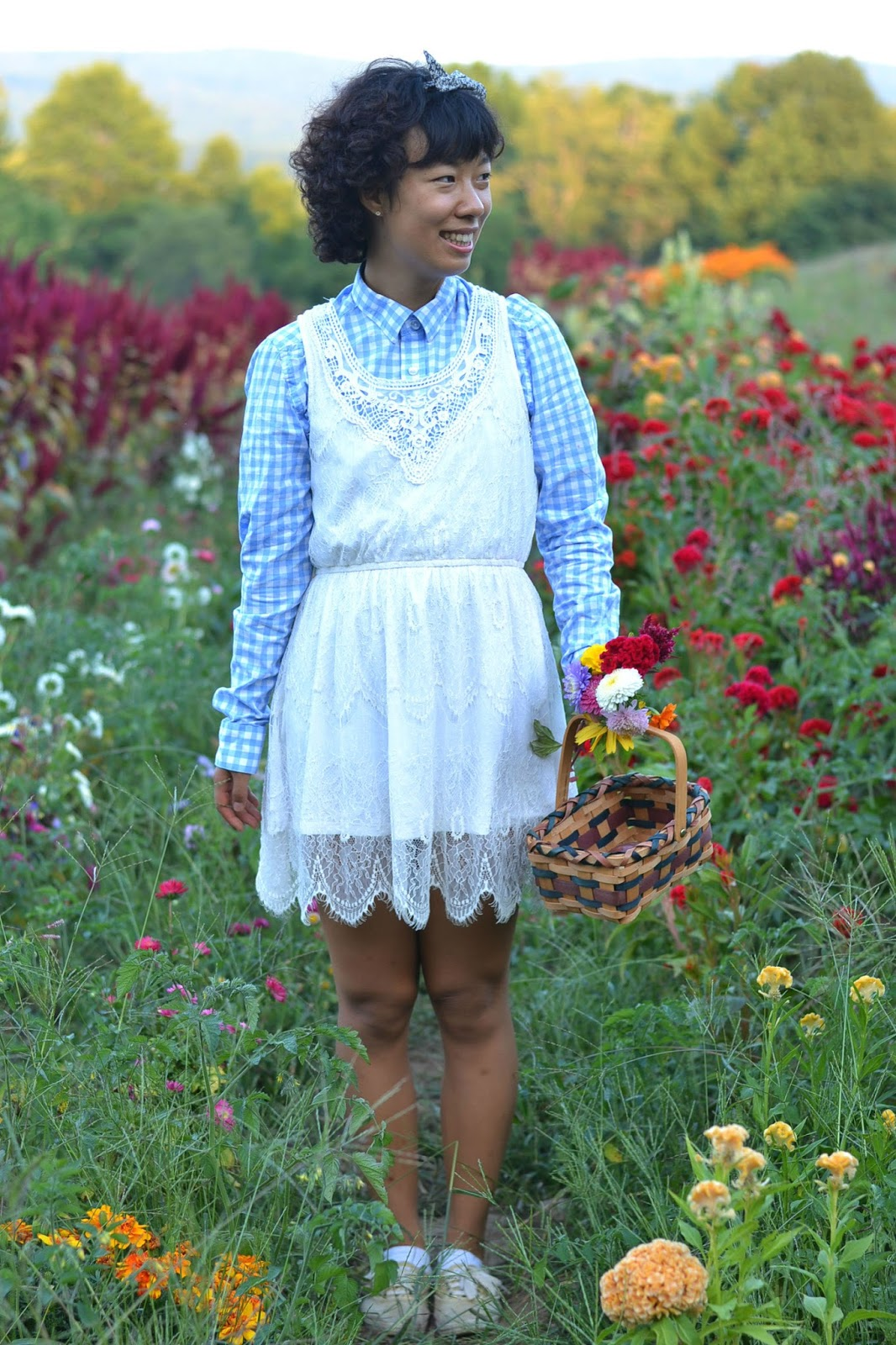 gingham button down, white lace dress, dorothy look