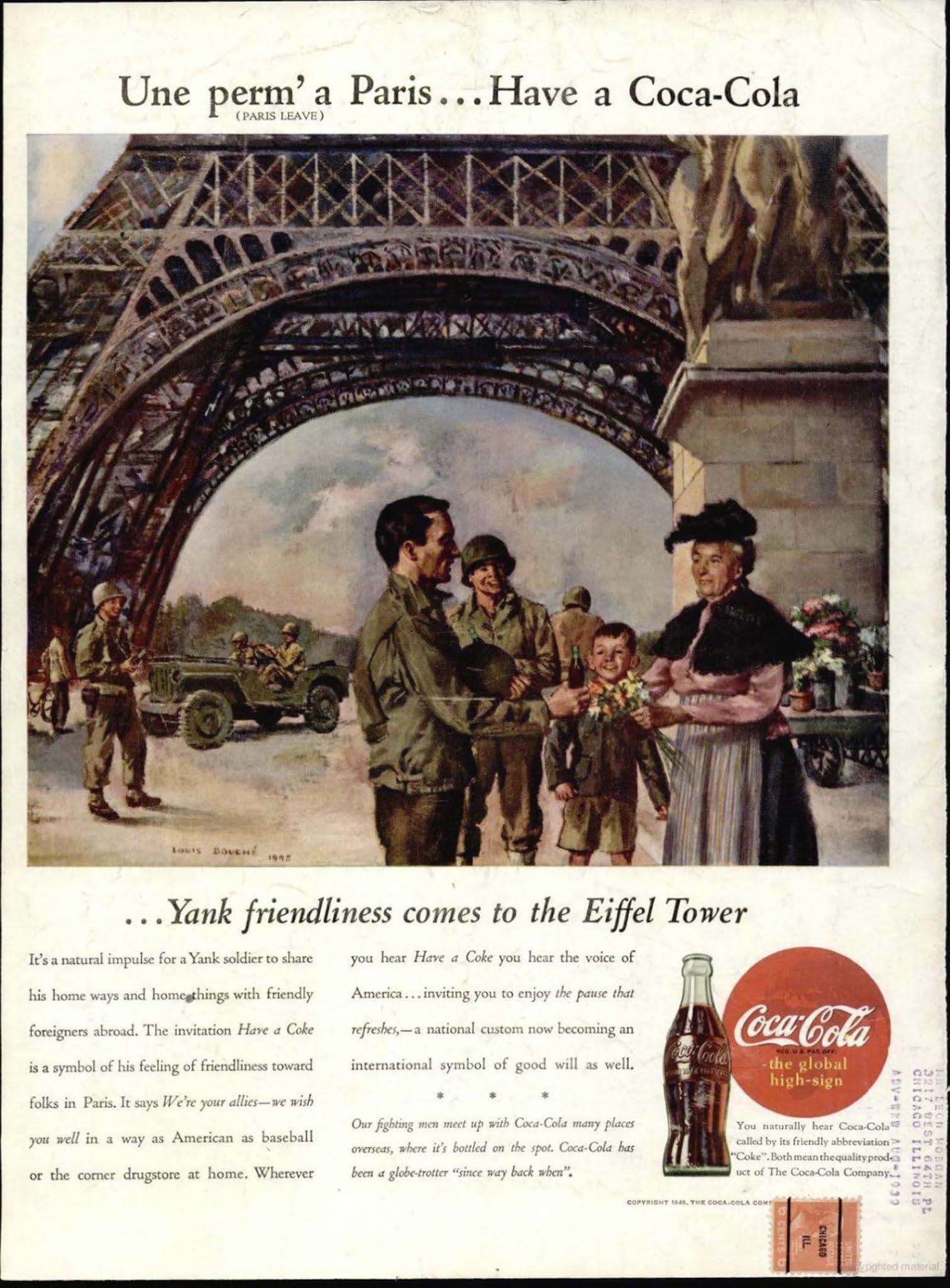 A Coca-Cola magazin hirdetése.  1945
