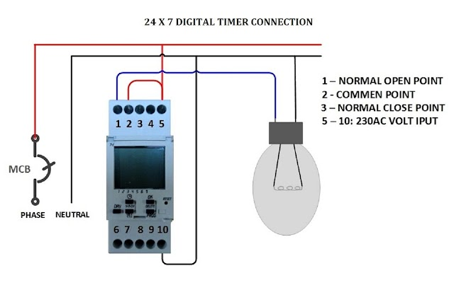 Digital Timer Control Switch Connection and Working