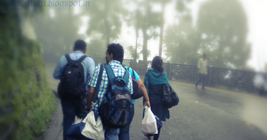Walking through the streets of Mussoorie in a Rainy Day