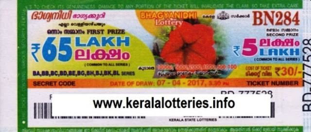 Kerala lottery result live of Bhagyanidhi (BN-249) on 05.08.2016