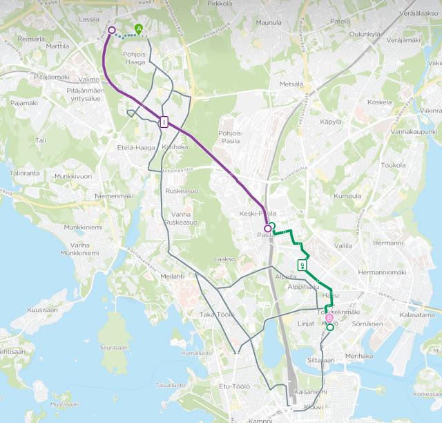 Reittioppaan vaihtoehtoiset reitit välille Pohjois-Haaga-Kallio.