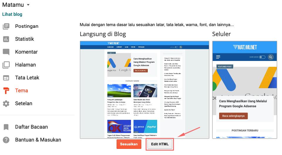 cara mudah mengganti tampilan pada blogger