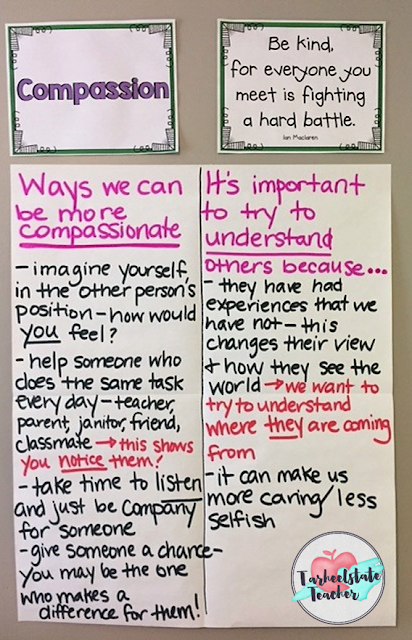 If you plan to do upper elementary morning meetings in your classroom, you're going to love the ideas presented in this post! Your 3rd, 4th, 5th, and 6th grade students will be exposed to a literature-rich environment that encourages personal improvement, character development, community building, teaching themes in literature and ELA skills. Suggested read alouds/books, materials, and activities will engage your students in compassion related lessons. Used by classroom teachers or counselors to promote character education.