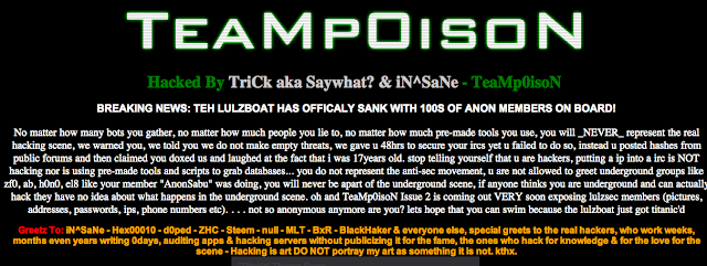 Lulzsec member blog hacked by TeaMp0isoN