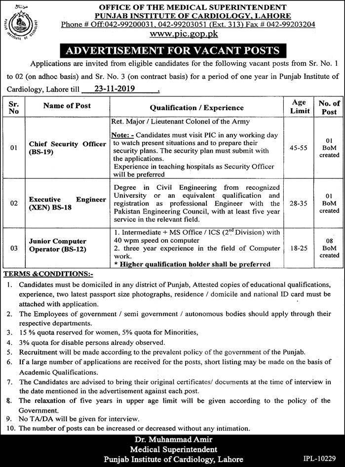Punjab Institute of Cardiology Lahore Latest Jobs