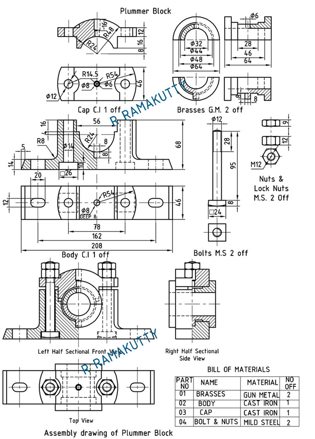 Machine Drawing: PLUMMER BLOCK (PEDESTAL BEARING)