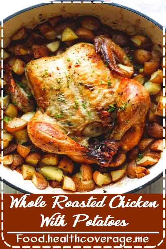 Whole Roasted Chicken With Potatoes, healthy and hearty, homemade, perfect for a family dinner.