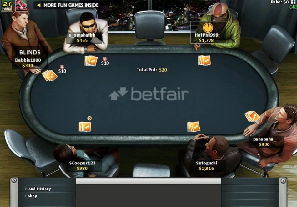 Betfair Poker Table Screen