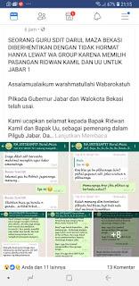Dipecat Karena Pilih Ridwan Kamil