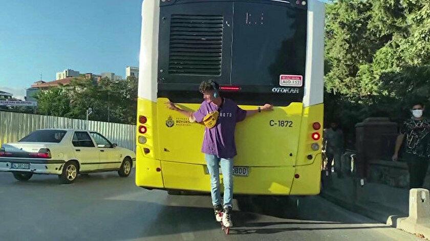 Otobüsün arkasında tehlikeli oyun!