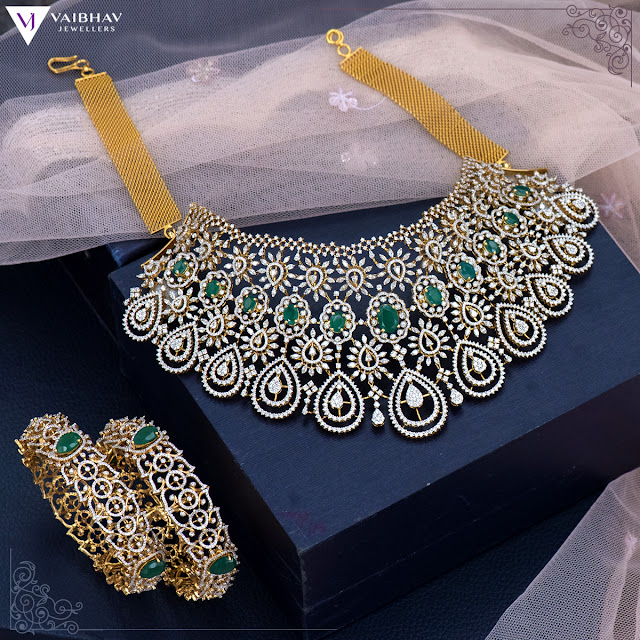 Unique Diamond Chokers by Vaibhav Jewellers