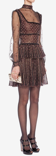 Black russet & gold patchwork sheer lace mini dress