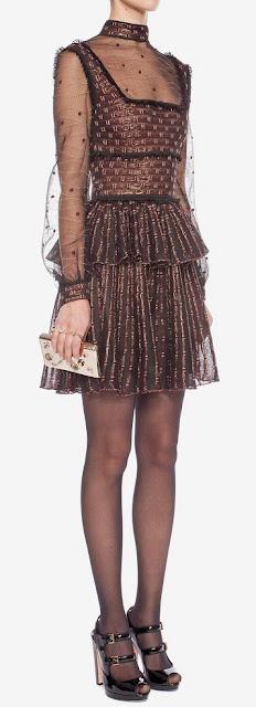 Black russet & gold patchwork sheer lace mini dress