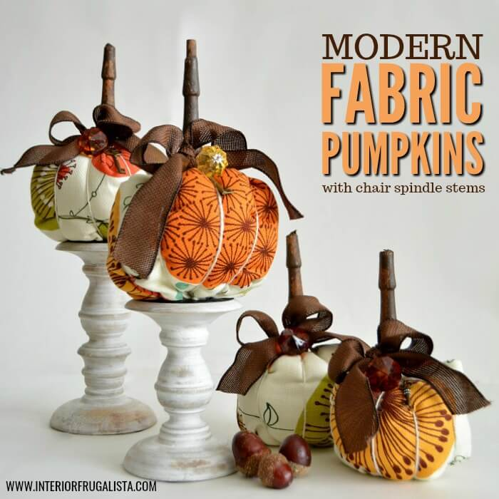 Funky retro mid-century style fabric pumpkins with chair spindle stems that have a unique modern edge in traditional Fall colors for fall decorating.