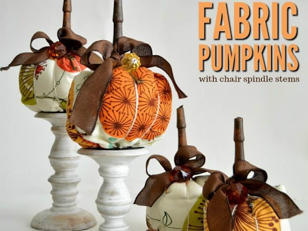 Modern Retro Fabric Pumpkins With Chair Spindle Stems