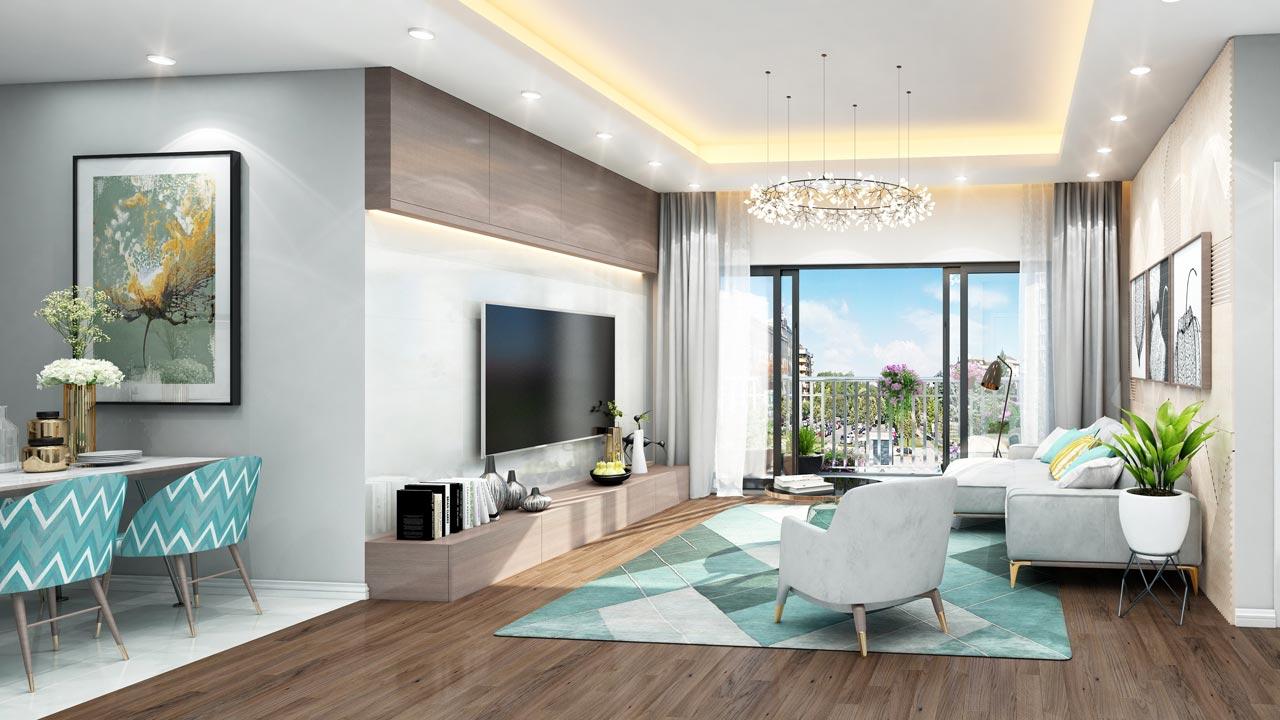 Mẫu thiết kế phòng khách chung cư anland lake view nam cường